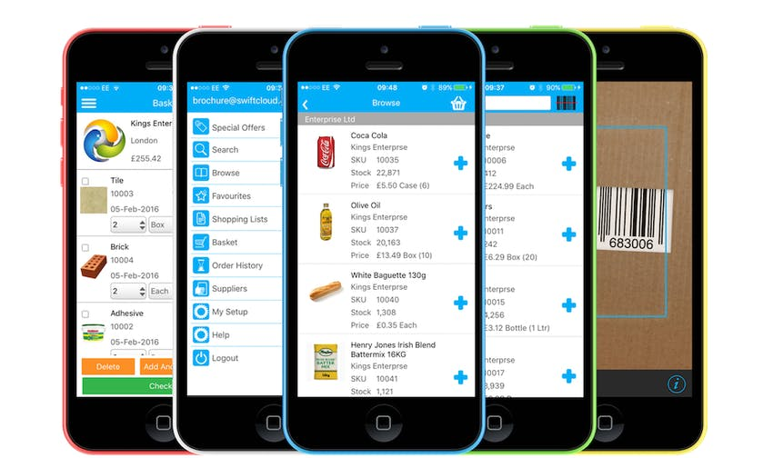 SwiftCloud mobile ordering app on different coloured iPhones
