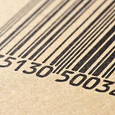 A black and white barcode closeup