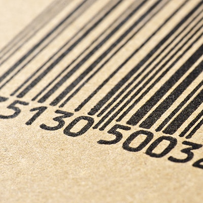 A black and white barcode closeup