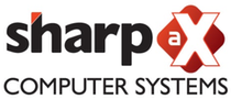 Black Red & White Sharp aX Computer Systems Logo