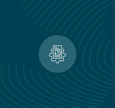 Blue Erudus Release Notes Icon on blue background with fingerprint illustration across background