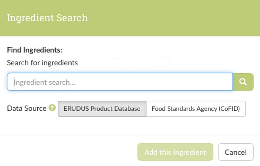 Screenshot of Erudus ingredient search so users can find what they're looking for