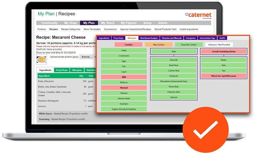 Caternet system recipe plan with ingredients and highlighted allergens