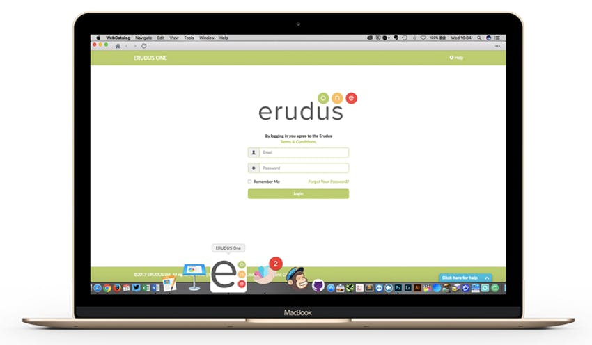 Mockup of Erudus App Icon on a Macbook dashboard