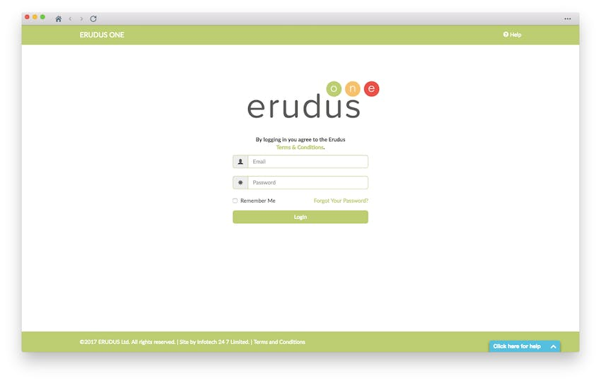 Erudus One Log-in page