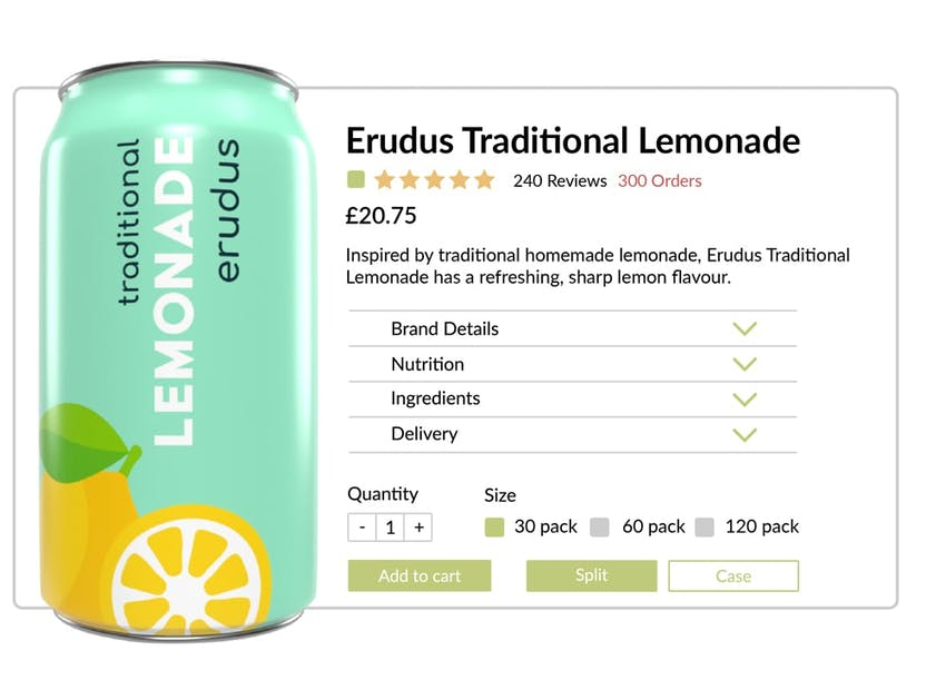 Mockup of Erudus Lemonade for sale in e-commerce format with all product information available
