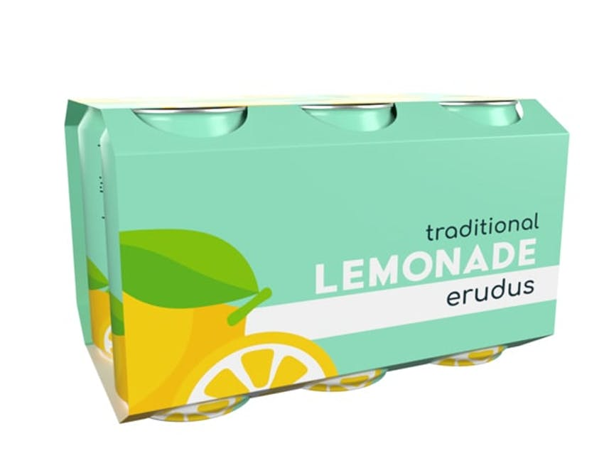 Mint blue mockup of Erudus lemonade case shot angled left