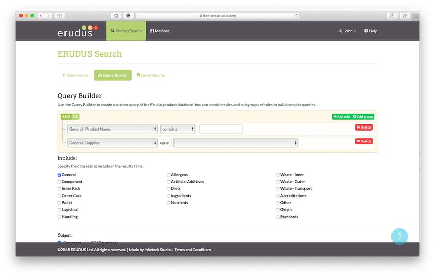 Desktop screen view of Erudus query builder in action within the Erudus system