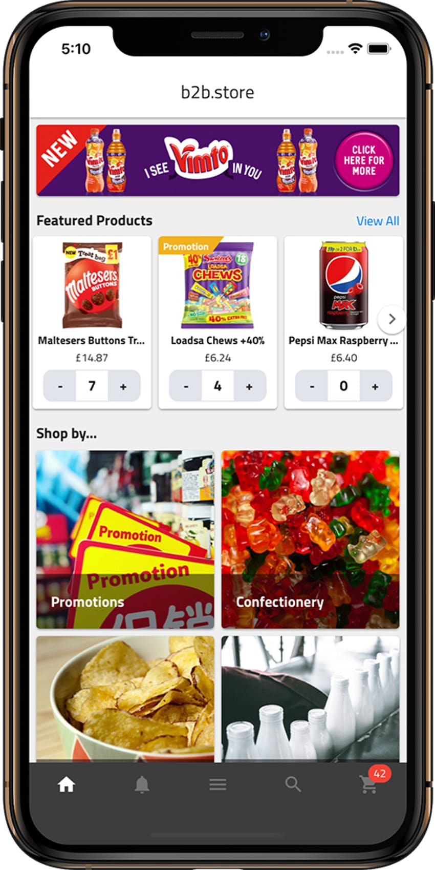 mockup of the b2b.store app with promotions, food categories on an apple iphone