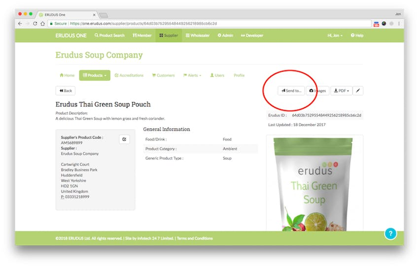 Erudus thai green soup product specification in the erudus supplier page
