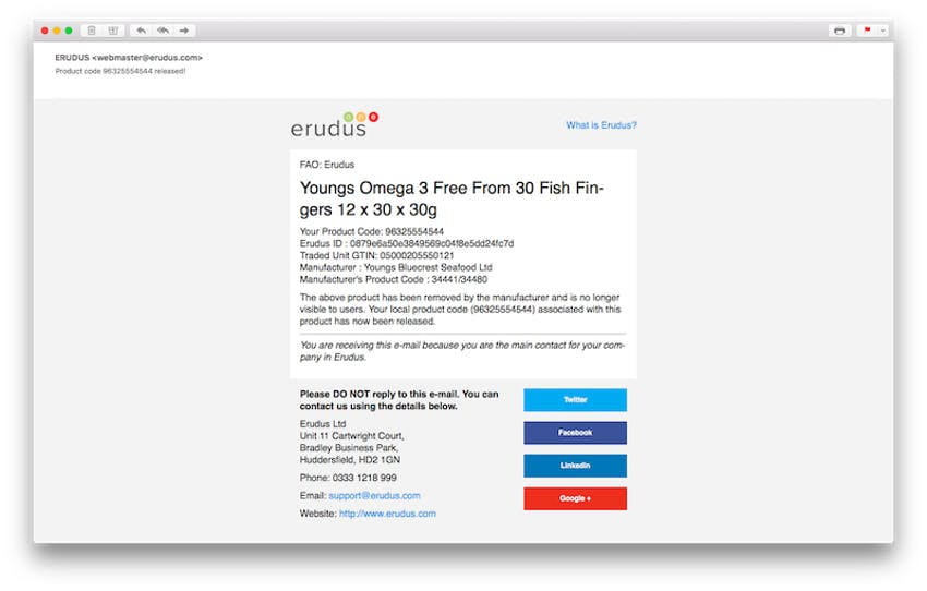 email of erudus product code release of youngs omega free from fish fingers