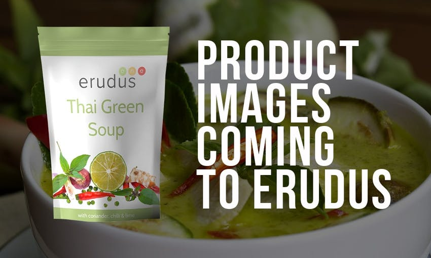 mockup of an erudus thai green soup pouch next to product images coming to erudus capital text