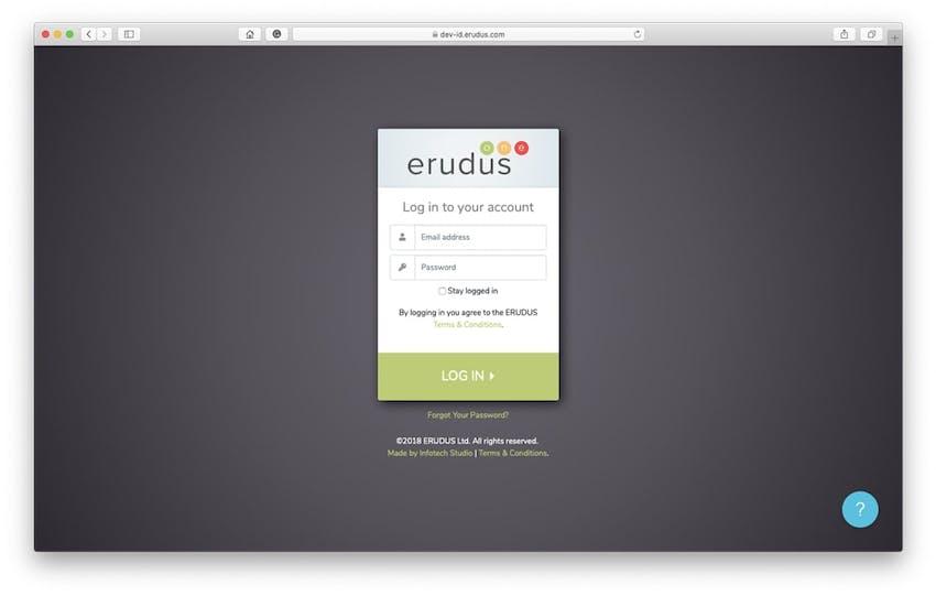 erudus account log in screen