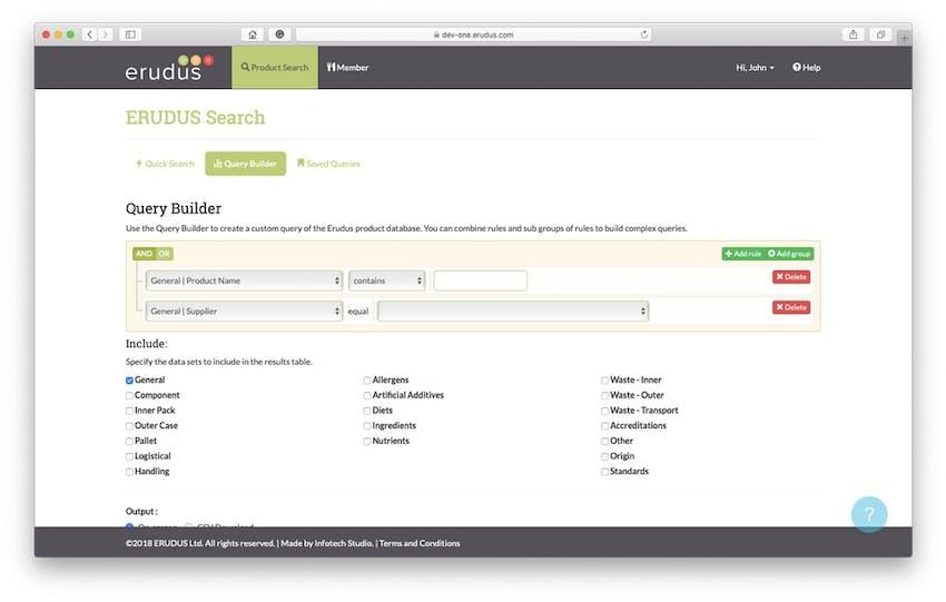 erudus query builder interface