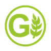 green g and green wheat icon inside a green circle