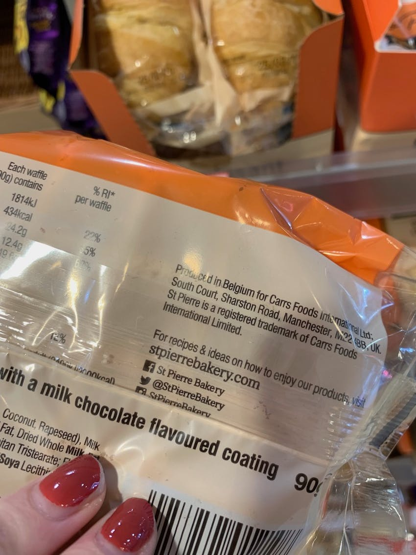 back packet of belgian chocolate waffle with ingredient information