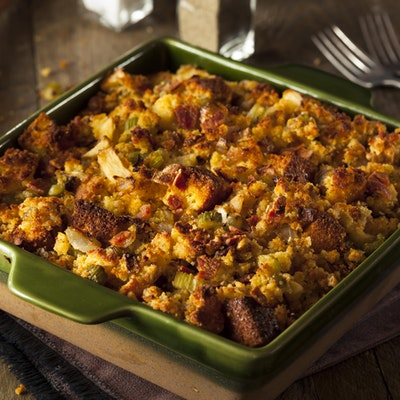ovenbaked dish of traditional homemade cornbread stuffing