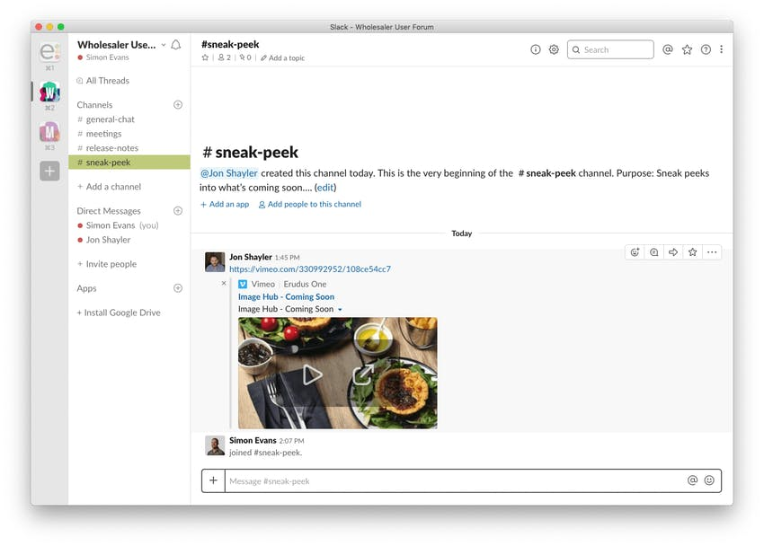 desktop view of erudus sneak peek slack channel with jon shayler posting a sneek peak vimeo of image capture