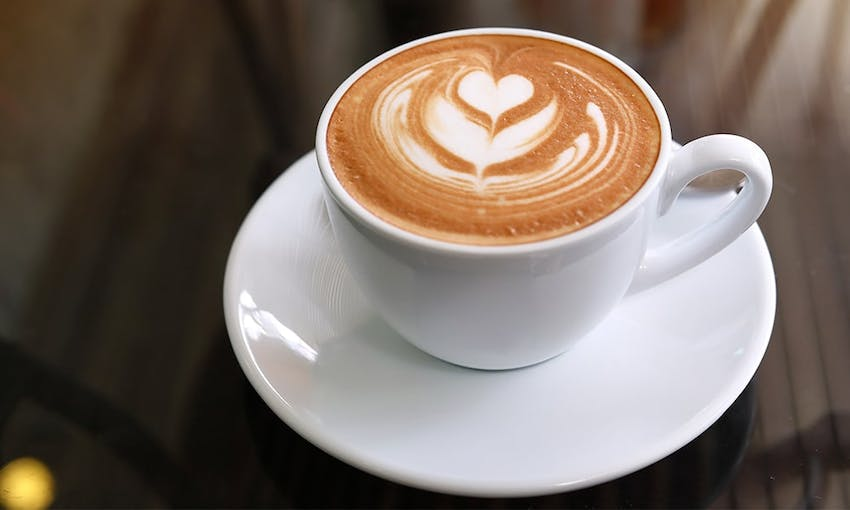 a white mug and saucer filled with a cappuccino with leaf coffee art