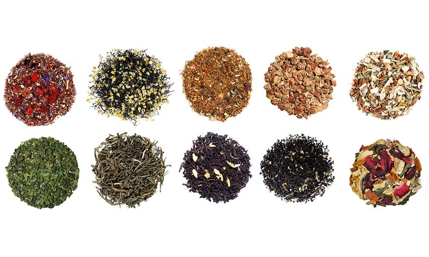 two rows of five different herbal teas
