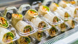Wraps prepackaged in plastic containers ready for sale