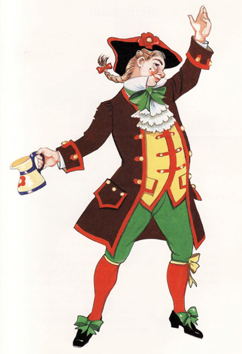 an old fashioned Piedmontese carnival character in brown, yellow, green garments with a black hat and plaited hair