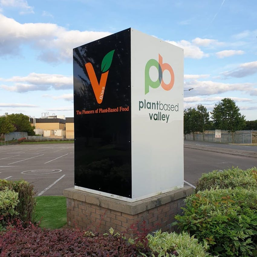 Statue and brickwork with plant based valley logo in front of car park on site showcasing plant based valley as pioneers of plant based food in the north east