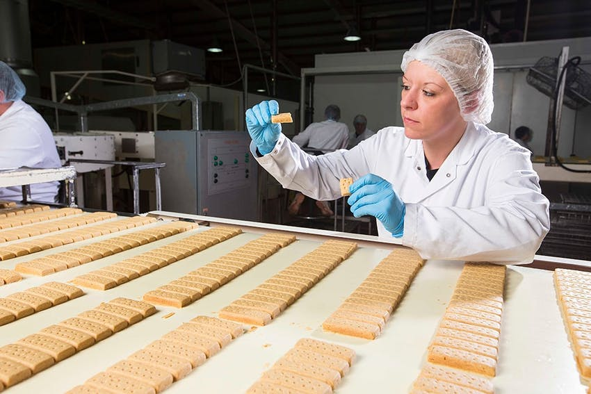 A lady dressed in a lab coat and clear hair net inspecting a finger of shortbread whilst they are being mass produced within a factory