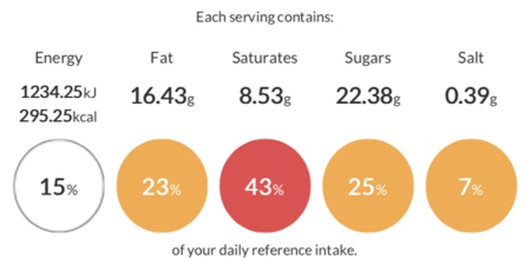 baker and baker erudus product specification showing nutritional and calorie content