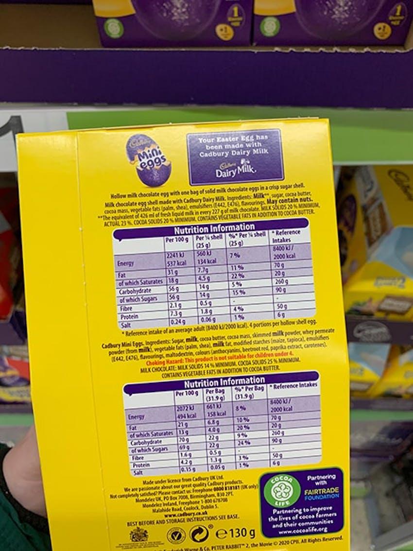Back of Cadbury Mini Eggs easter egg box showing ingredients