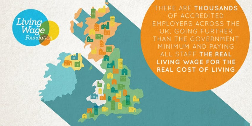 A doodle illustrated map of the UK which states there are thousands of accredited employers across the uk going further than the government minimum and paying all staff the real living wage for the real cost of living