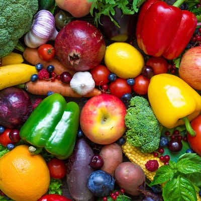 colourful array of various fresh fruits and vegetables