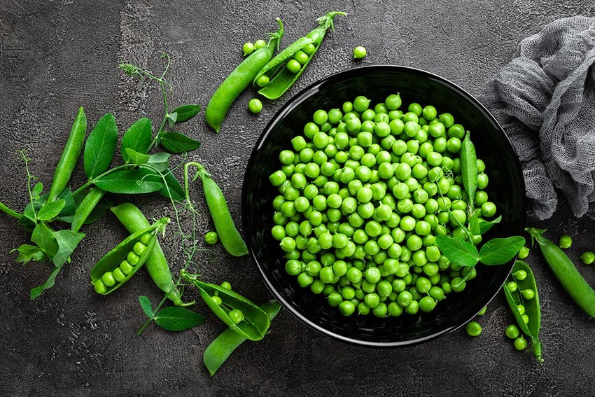 a black bowl of green garden peas on a grey marble worktop with pods filled with peas decorating the worktop