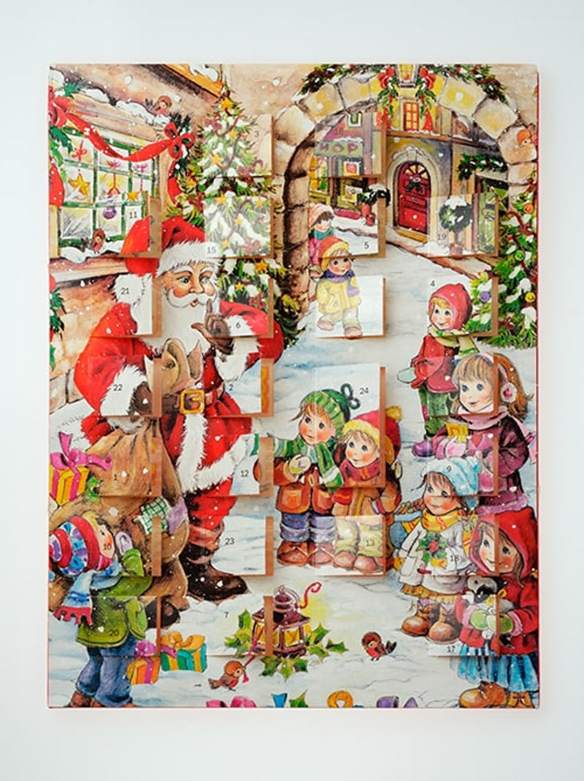 a chocolate advent calendar with santa handing out gifts to children