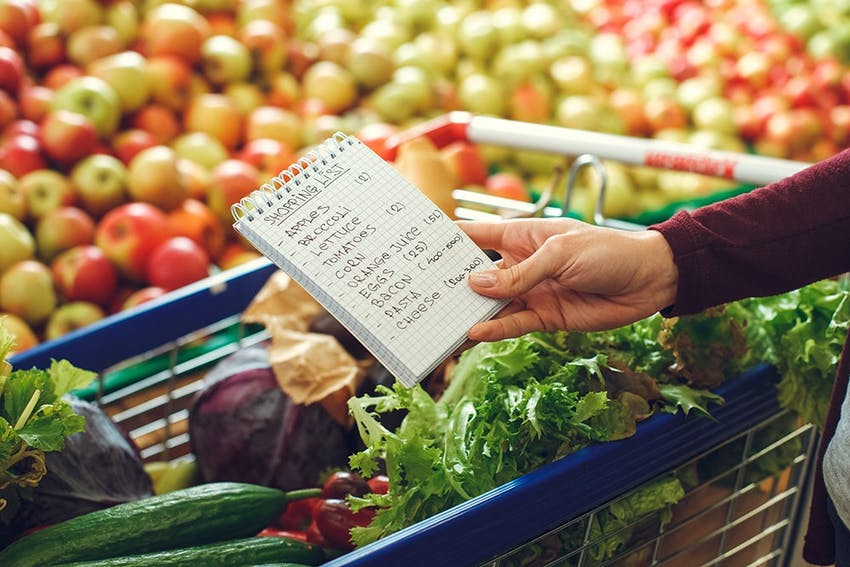 a hand holds a shopping list over a trolley filled with green veg in a supermarket fruit aisle