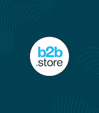 white circle with b2b store logo inside surrounded by erudus dark blue and fingerprint graphics