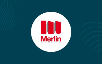 white circle with merlin logo inside surrounded by erudus dark blue and fingerprint graphics