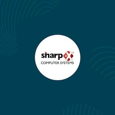 white circle with sharp ax logo inside surrounded by erudus dark blue and fingerprint graphics