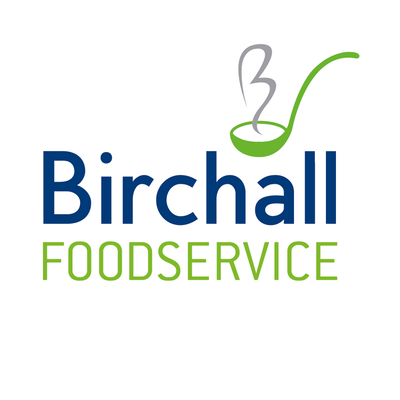 birchalls in blue text above foodservice in green text all underneath a green soup spoon icon holding the letter b for birchalls