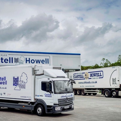two castell howell lorries in front of the castell howell wholesale warehouse