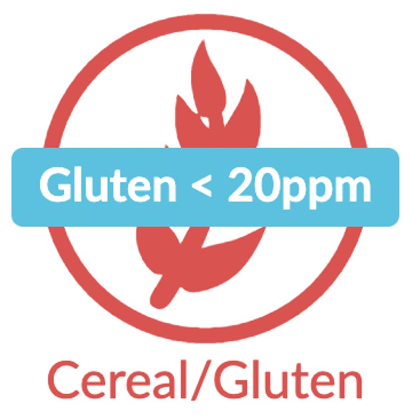 red erudus contains gluten wheat symbol with blue gluten < 20ppm icon label
