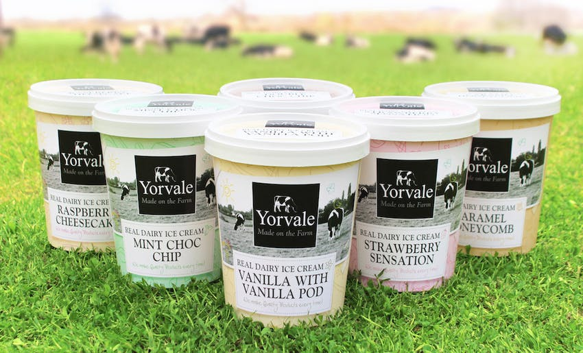 six varying flavours of yorvale real dairy ice cream in an arrow format in a green field with cows grazing in the background