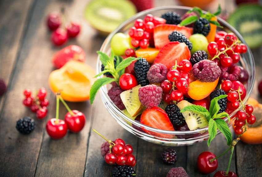 Fruit salad with summer berries