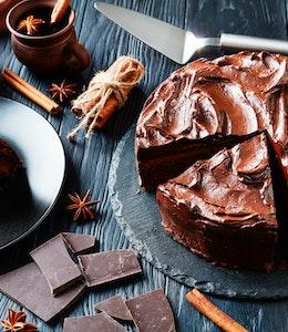 allergy friendly free from vegan chocolate cake with chocolate ganache