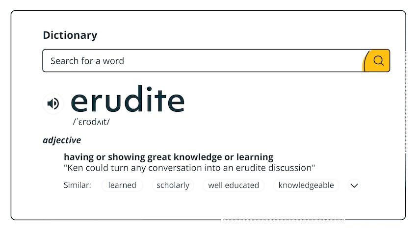 Dictionary definition of erudite