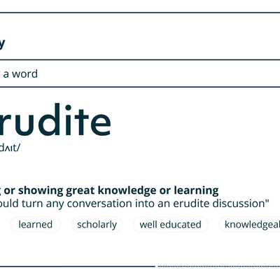 Dictionary definition of erudite