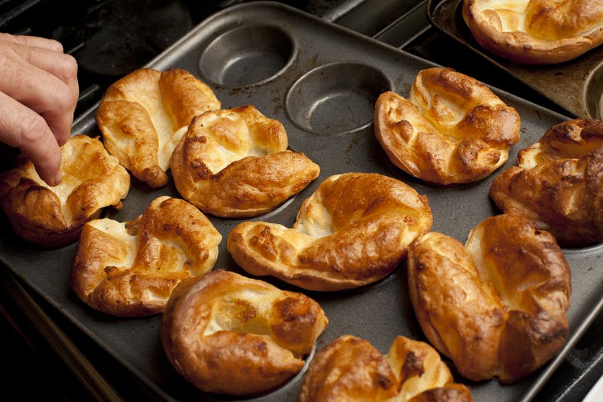 Yorkshire puddings in a tin