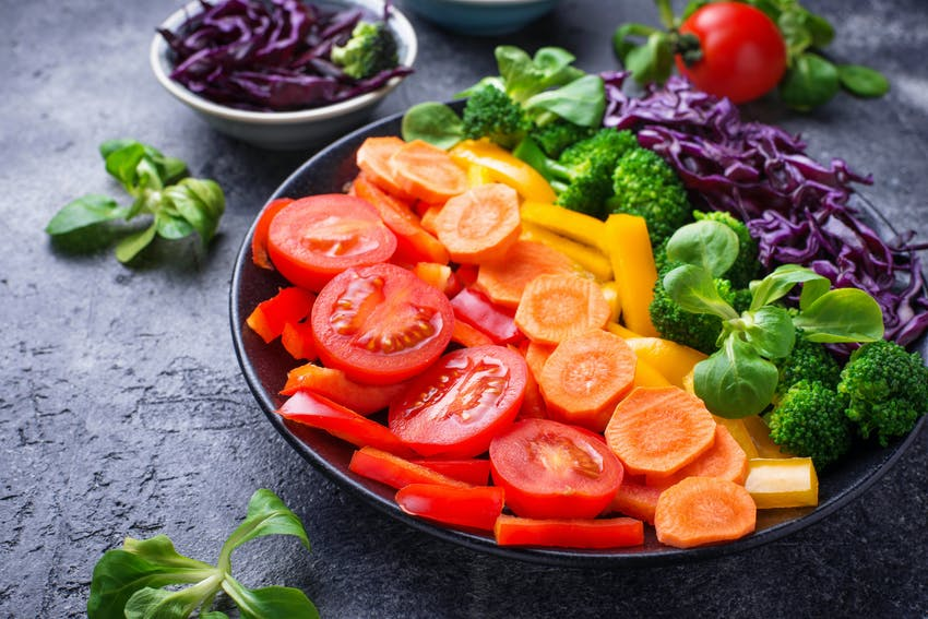 Rainbow coloured vegetables