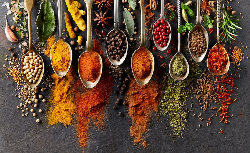 A range of herbs and spices