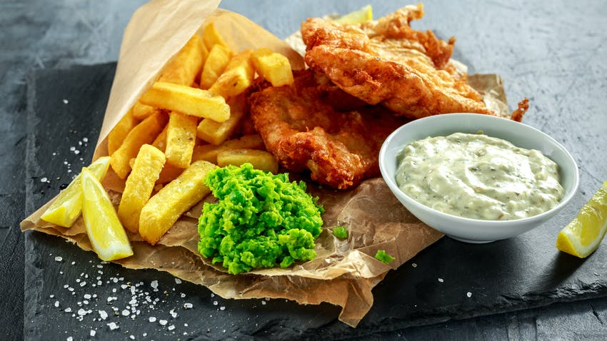 Fish supper with beer-battered cod
